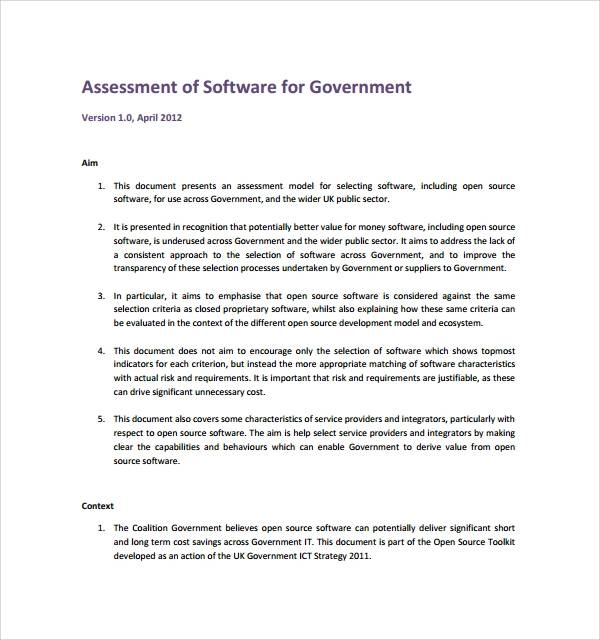 free software assessment template