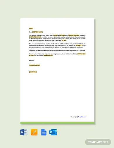free sponsorship request letter for student