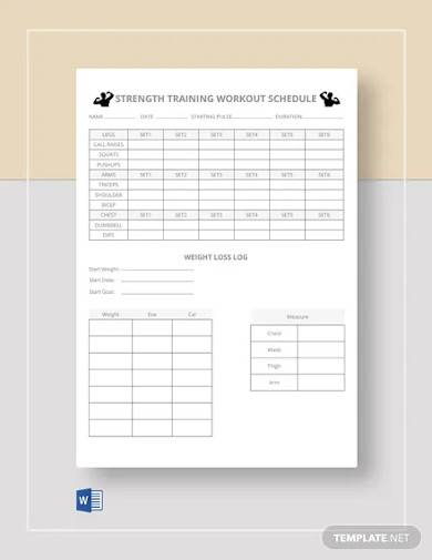 free strength workout schedule template