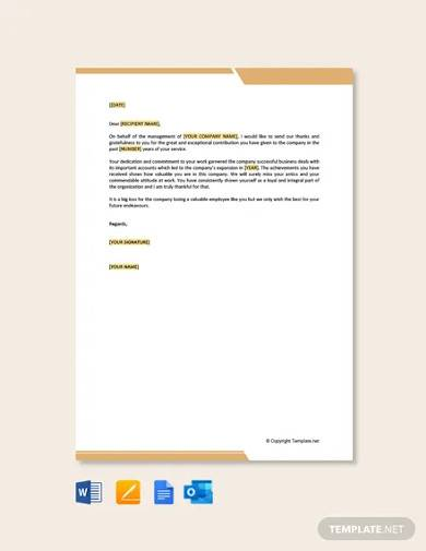 free thank you letter to employee after resignation
