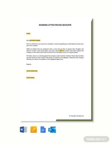 free warning letter for bad behavior