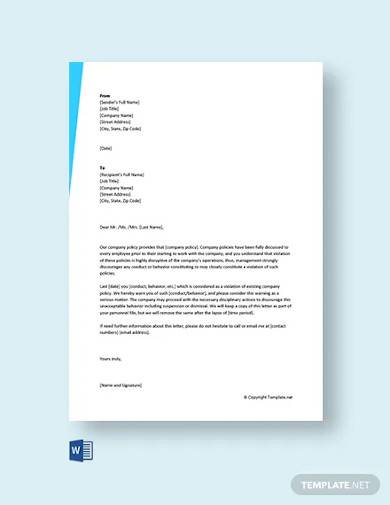 free warning letter for violation of company policy