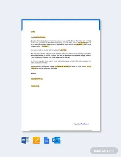 free warning letter to tenant for late payment