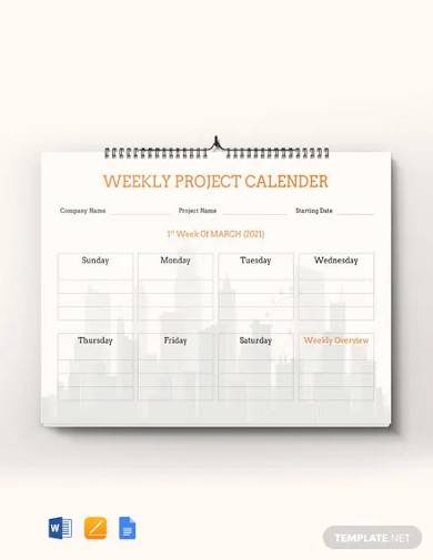 free weekly project desk calendar template