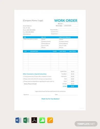 free work order template