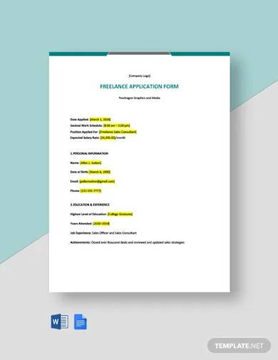 freelance application form template