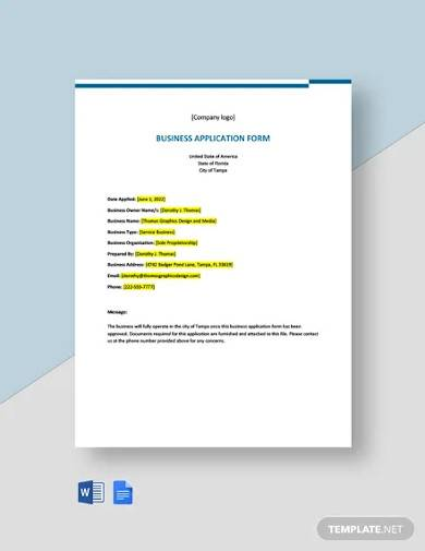 freelance business application form template