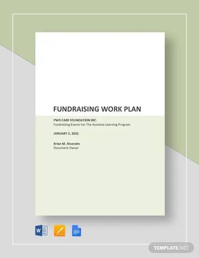 fundraising work plan template