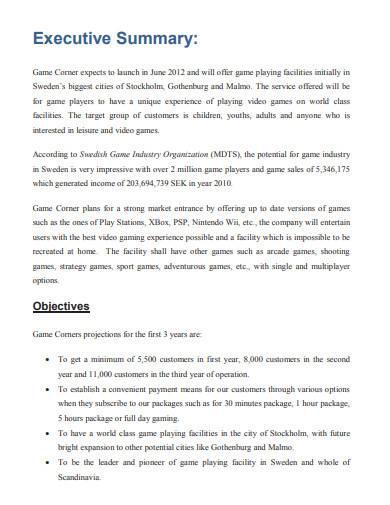 gaming cafe business plan sample