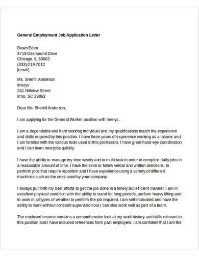 general employment job application letter
