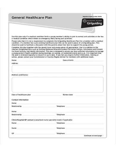 general health care plan template