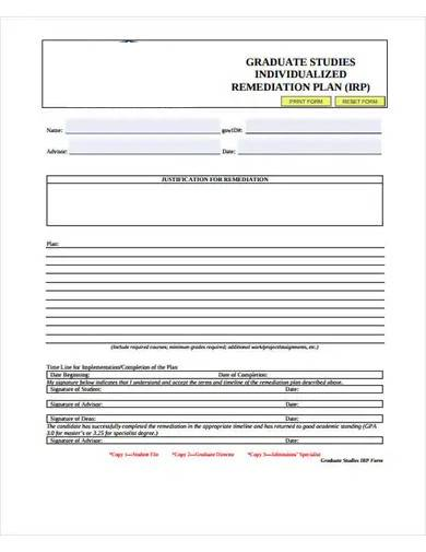 graduate studies remediation plan