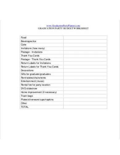 graduation party budget worksheet