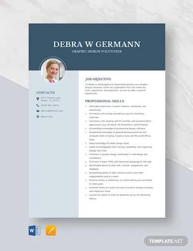 graphic design volunteer resume template