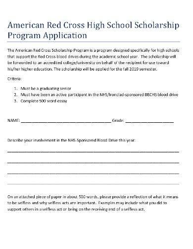 high school scholarship program application