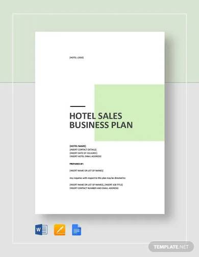 hotel sales business plan template