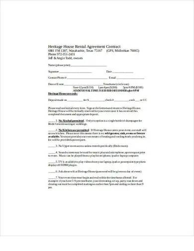 house rental agreement contract