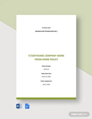 it and software company work from home policy template
