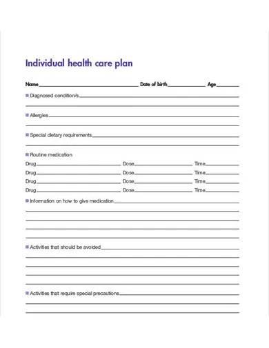 individual healthcare plan template