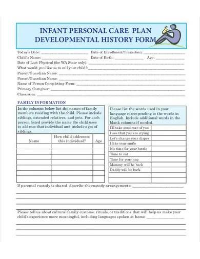 infant personal care plan