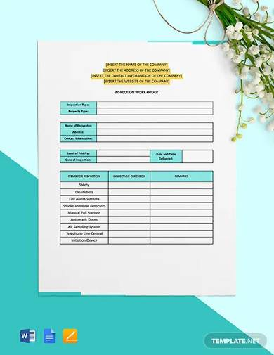 inspection work order template