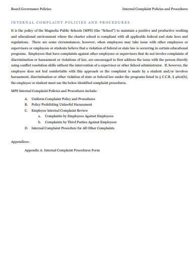 internal complaint policies and procedures