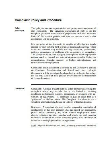 internal complaint policy and procedure