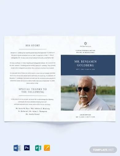 jewish funeral program bi fold brochure