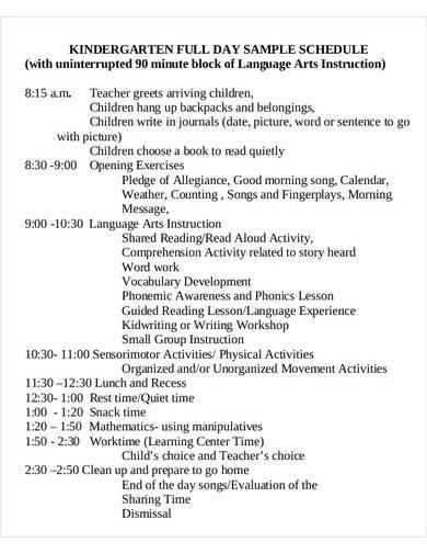 kindergarten school schedule