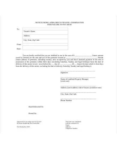 landlord eviction notice form template