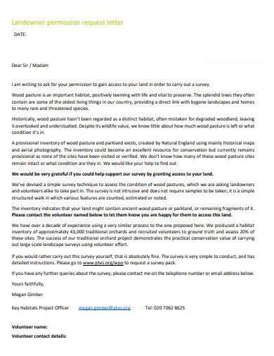 landowner permission request letter
