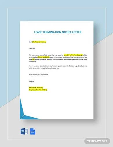 lease termination notice letter template