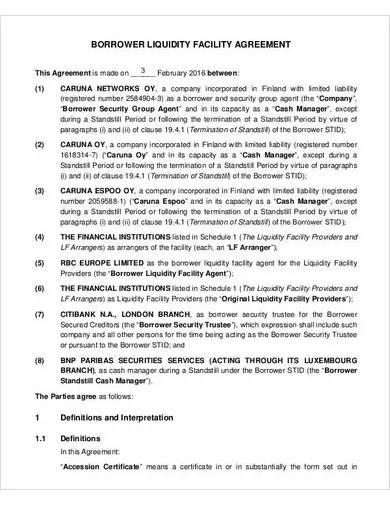 liquidity facility agreement sample