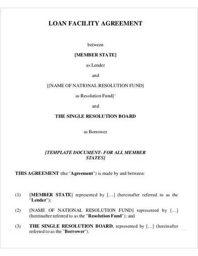 loan facility agreement template