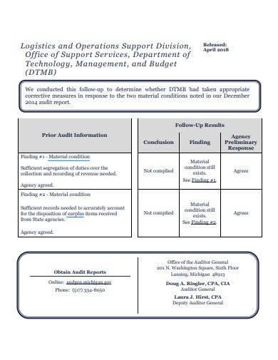 logistics audit report format