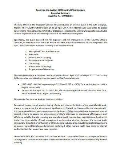 logistics audit report