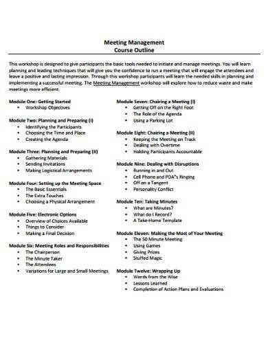 management meeting course outline