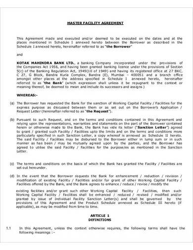 master facility agreement template