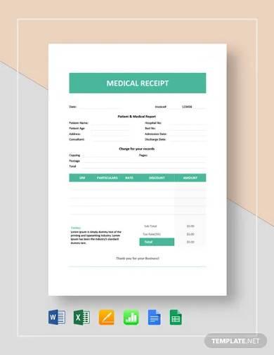medical receipt template