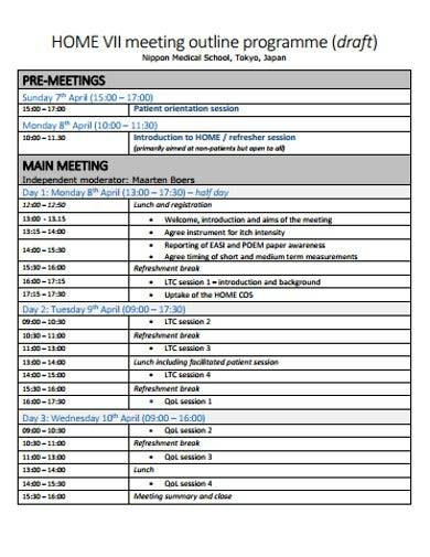 meeting outline programme