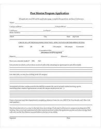 mentor program application template