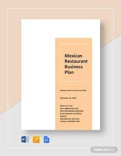 mexican restaurant business plan template