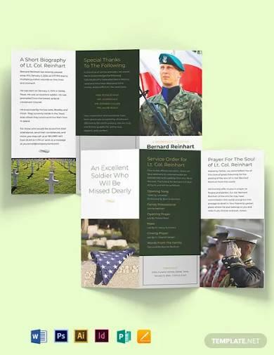 military funeral program tri fold brochure