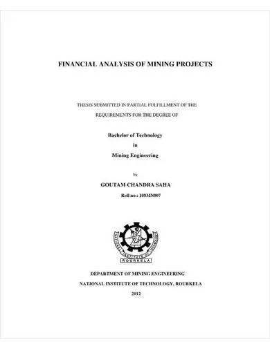 mining project financial analysis