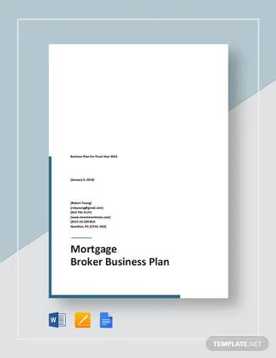 mortgage broker business plan template