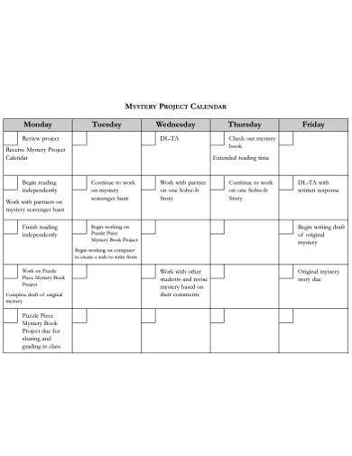 mystrey project calendar template