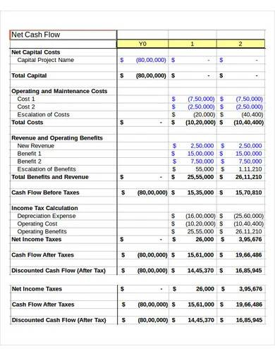 net cash flow template