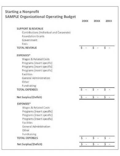 nonprofit operation annual budget