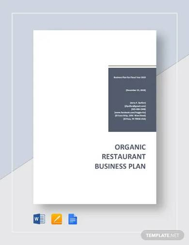 organic restaurant business plan template