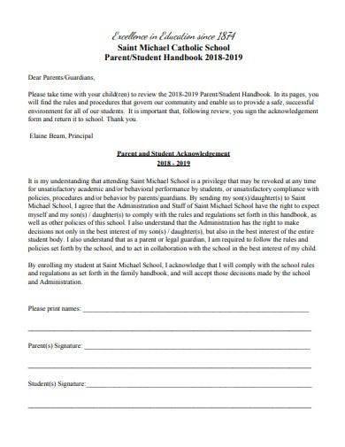 parent student handbook template
